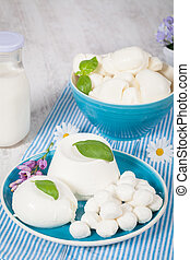 Italian Mozzarella - Dish of typical italian mozzarella ...