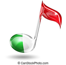 italian music - musical note with italian flag colors