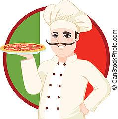 Italian Mustache Pizza Chef