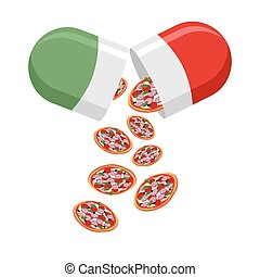 Italian national pill. Medicine patriotic. From the pills fall out boy.