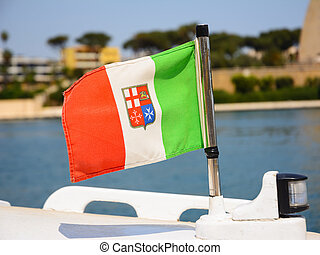 Italian nautical flag with the tricolor and the symbol of the 4 maritime republics