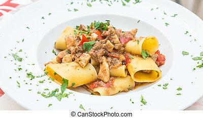 Italian Paccheri pasta with Swordfish - Otranto town, Puglia...