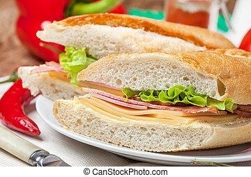 Italian panini sandwich. - Italian panini sandwich with ham,...
