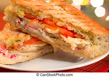 Italian Panini Sandwich - Traditional Italian chicken...