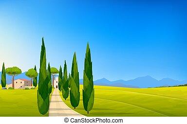Italian panorama rural countryside in spring or summer