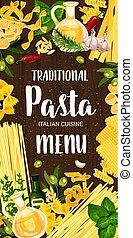 Italian pasta and green seasonings menu - Pasta cuisine dish...