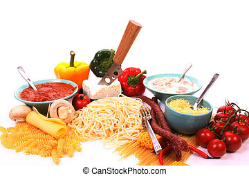 Italian pasta and the ingredients to make a meal