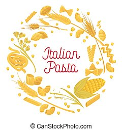 Italian pasta and wheat durum cereal flour macaroni vector cuisine poster