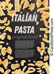 Italian Pasta Background. Farfalle, Conchiglie, Linguine, Maccheroni, Penne, Rigate.