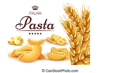 Italian pasta background or poster with wheat