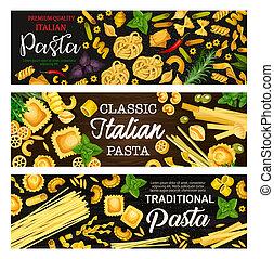 Italian pasta banners on wooden background - Italian pasta...