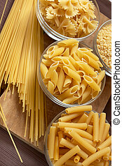 italian pasta - bowl with different kind of pasta, farfale, ...