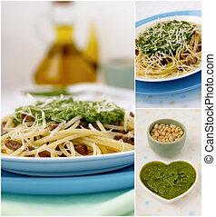 Italian pasta collage.