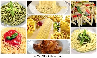 italian pasta collage - italian pasta recipes montage