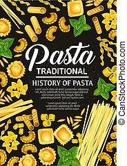 Italian pasta cooking poster, vector cover - Italian pasta...