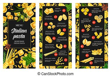 Italian pasta cuisine menu, seasoning - ????? ????