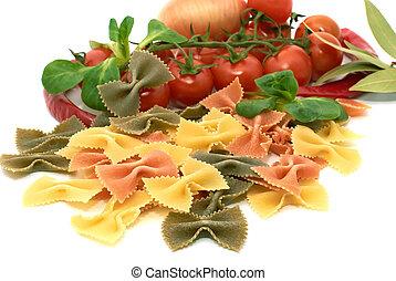Italian pasta farfalle with vegetables