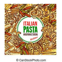 Italian pasta farfalle,spaghetti and fettuccine - Italian...