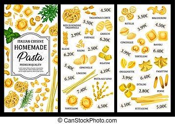 Italian pasta food menu, spaghetti and macaroni - Italian...