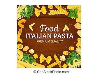 Italian pasta frame of vector macaroni - Pasta italian food...