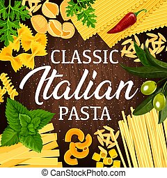 Italian pasta, herbs and spices