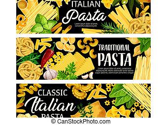 Italian pasta, herbs, spices and olives - Pasta italian...