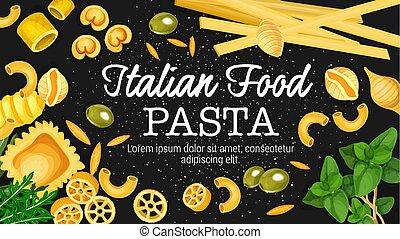 Italian pasta, macaroni and ravioli with herbs - Italian...