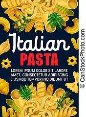 Italian pasta, macaroni and spaghetti food - Italian pasta...