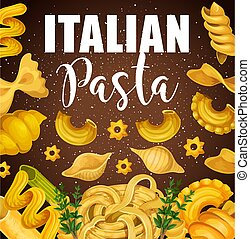 Italian pasta macaroni and spaghetti - Italian pasta with...