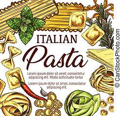 Italian pasta, macaroni and spaghetti sketch - Italian pasta...