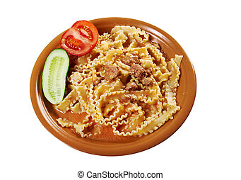 Italian pasta mafalde with beef ,sour cream and tomato sauce ..isolated