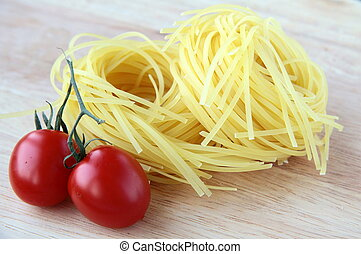 Italian pasta on a wooden board
