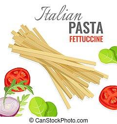 Italian pasta poster with fresh vegetables vector...