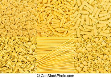 Italian Pasta raw food collection background texture. Spaghetti