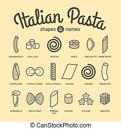 Italian Pasta, shapes and names collection. Vector...