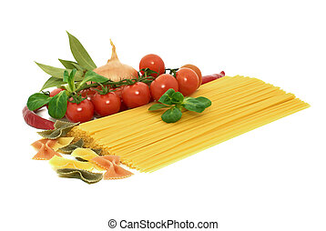 Italian pasta spagetti and farfalle with vegetables