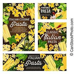 Italian pasta, spaghetti, farfalle, penne, herbs