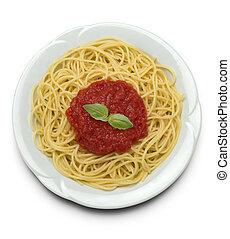 Italian pasta - spaghetti with tomato sauce
