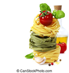 Italian Pasta with tomatoes, olive oil and basil on a white...