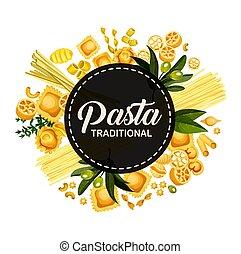 Italian pasta traditional cuisine, circle banner - Italian...