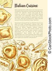 Italian pasta vector poster for cuisine template - Pasta...