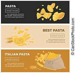 Italian pasta web banners vector template for Italy cuisine...