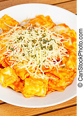 Italian pasta with cheese and tomato