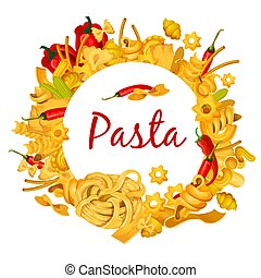 Italian pasta with chili pepper vector poster - Pasta poster...