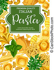 Italian pasta with herbal seasoning, vector - Italian pasta....