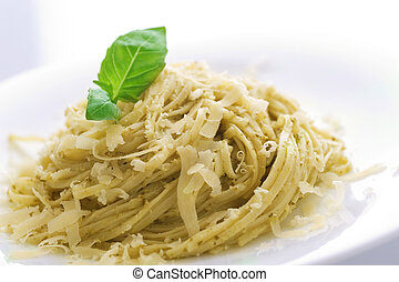 Italian Pasta With Pesto Sauce, Basil And Parmesan Cheese