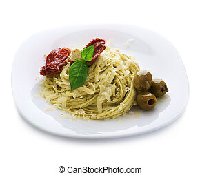 Italian Pasta With Pesto Sauce, Dried Tomato, Olives, Basil And Parmesan Cheese