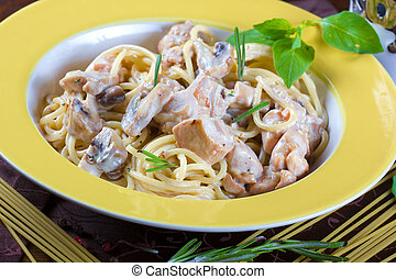 Italian pasta with sauce, beef and mushrooms