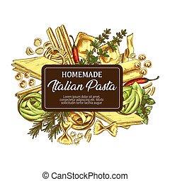Italian pasta with seasonings icon sketch - Pasta of Italy...
