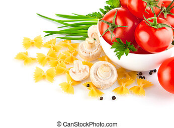 italian pasta with tomato and champignons isolated on white...
